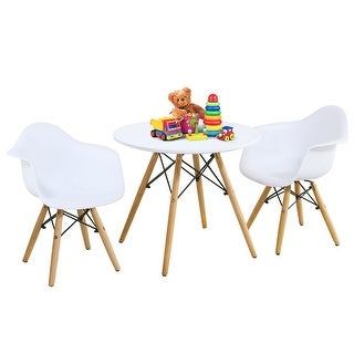 Gymax 3 Piece Kids Round Table Chair Set with 2 Arm Chairs White