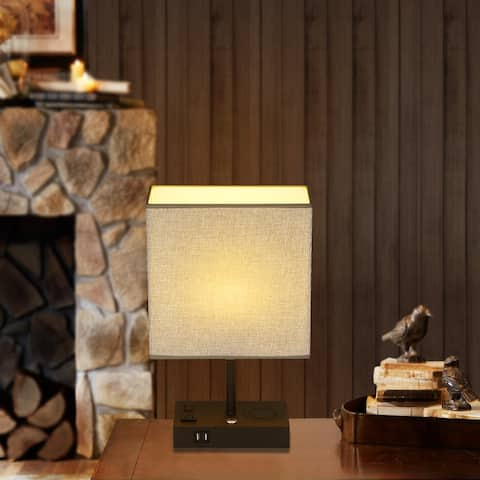 Cedar Hill 17 in. Wireless charging Table Lamp with USB Port