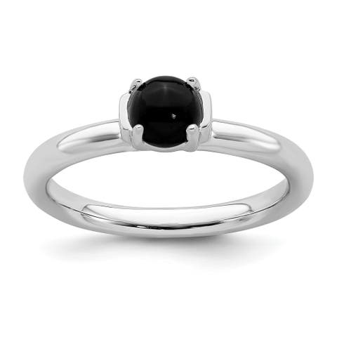 Sterling Silver Stackable Polished Black Agate Ring by Versil