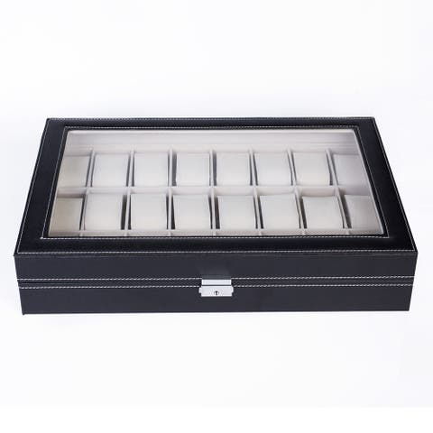24 Compartments Top-level Opening Style Leather Watch Box Black