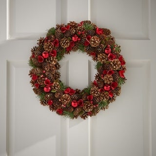 """Link to Kingsbridge 18.5"""" Pine Cone and Glitter Artificial Christmas Wreath, Natural and Red by Christopher Knight Home Similar Items in Christmas Decorations"""