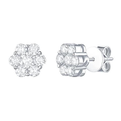 Lab Grown Diamond Cluster Flower Stud Earrings, 1 Ctw 14K Solid Gold by Smiling Rocks