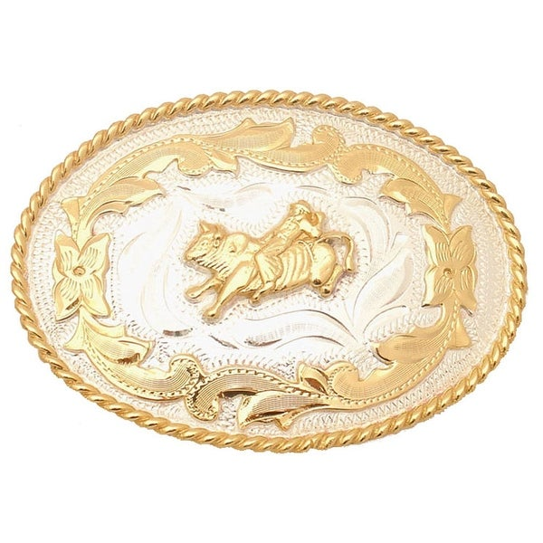German Silver Tone and Gold Tone Belt Buckle with Bullrider Detail - One size