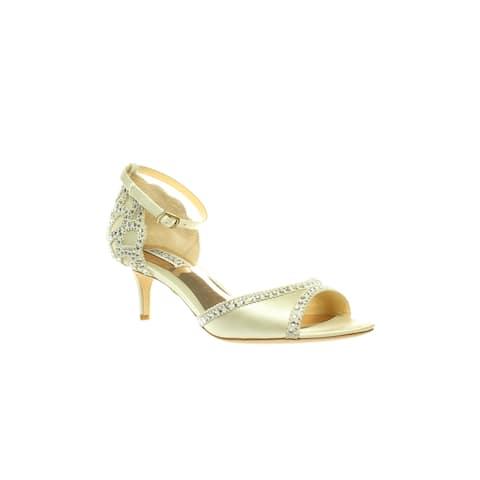 Badgley Mischka Womens Gillian Ivory Ankle Strap Heels Size 7.5