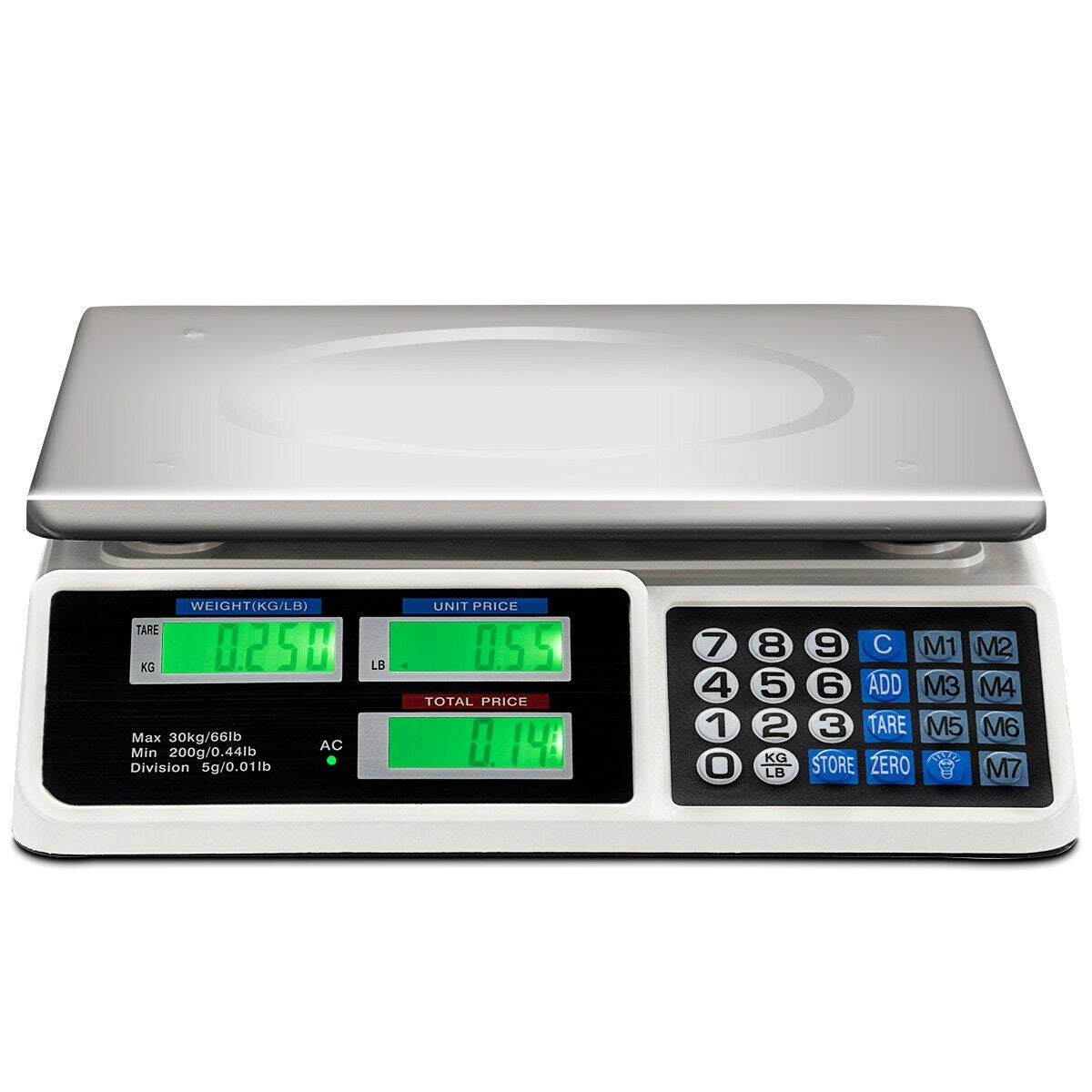 66Lbs Digital Weight Scale Price Computing Retail Count Scale Food Meat  Scales - as pic