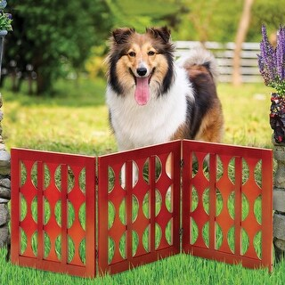 Etna 3-Panel Retro Design Wood Pet Gate - Decorative Tri Fold Dog Fence - Mahogany Finish - Brown - 19 in. x 48 in. x 1.5 in.