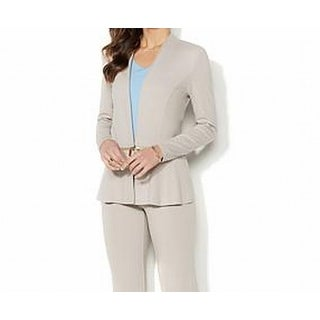 Iman NEW Warm Taupe Beige Womens Size XS Ponte-Knit Convertible Blazer