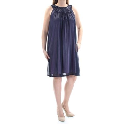 JESSICA HOWARD Womens Purple Sequined Beaded Sleeveless Jewel Neck Knee Length Shift Cocktail Dress Size: 14