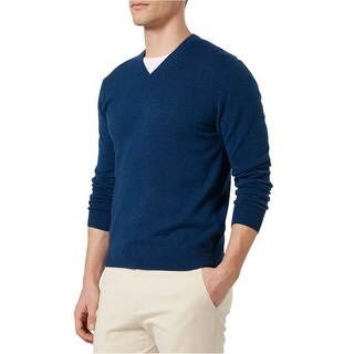 Bloomingdales Mens Slim Fit Cashmere V-Neck Sweater Large L Pacific Blue