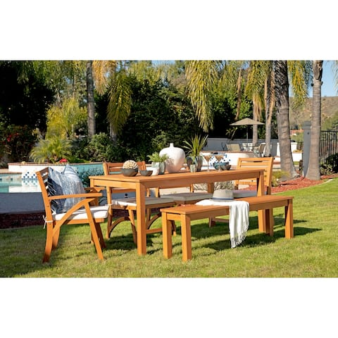 Oarcha 6-piece Brown Eucalyptus Wood Outdoor Dining Set by Havenside Home