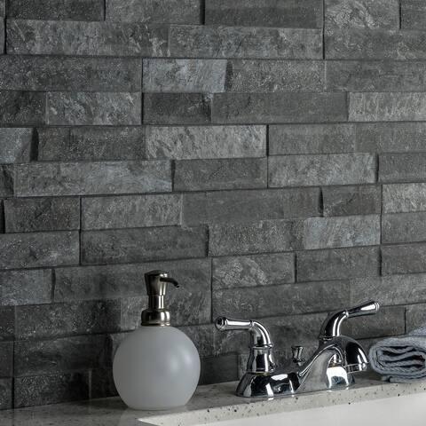 "SomerTile Ordino Black 3-1/4"" x 17-1/2"" Porcelain Wall Subway Tile"