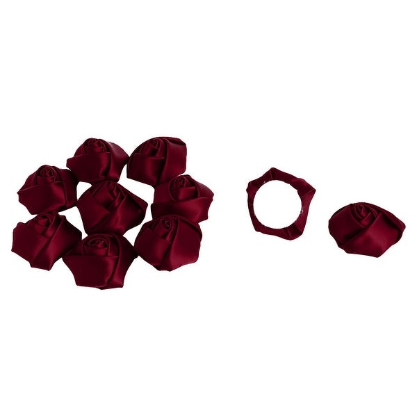 Wedding Satin Artificial DIY Crafts Appliques Flower Buds Rose Dark Red 10 PCS