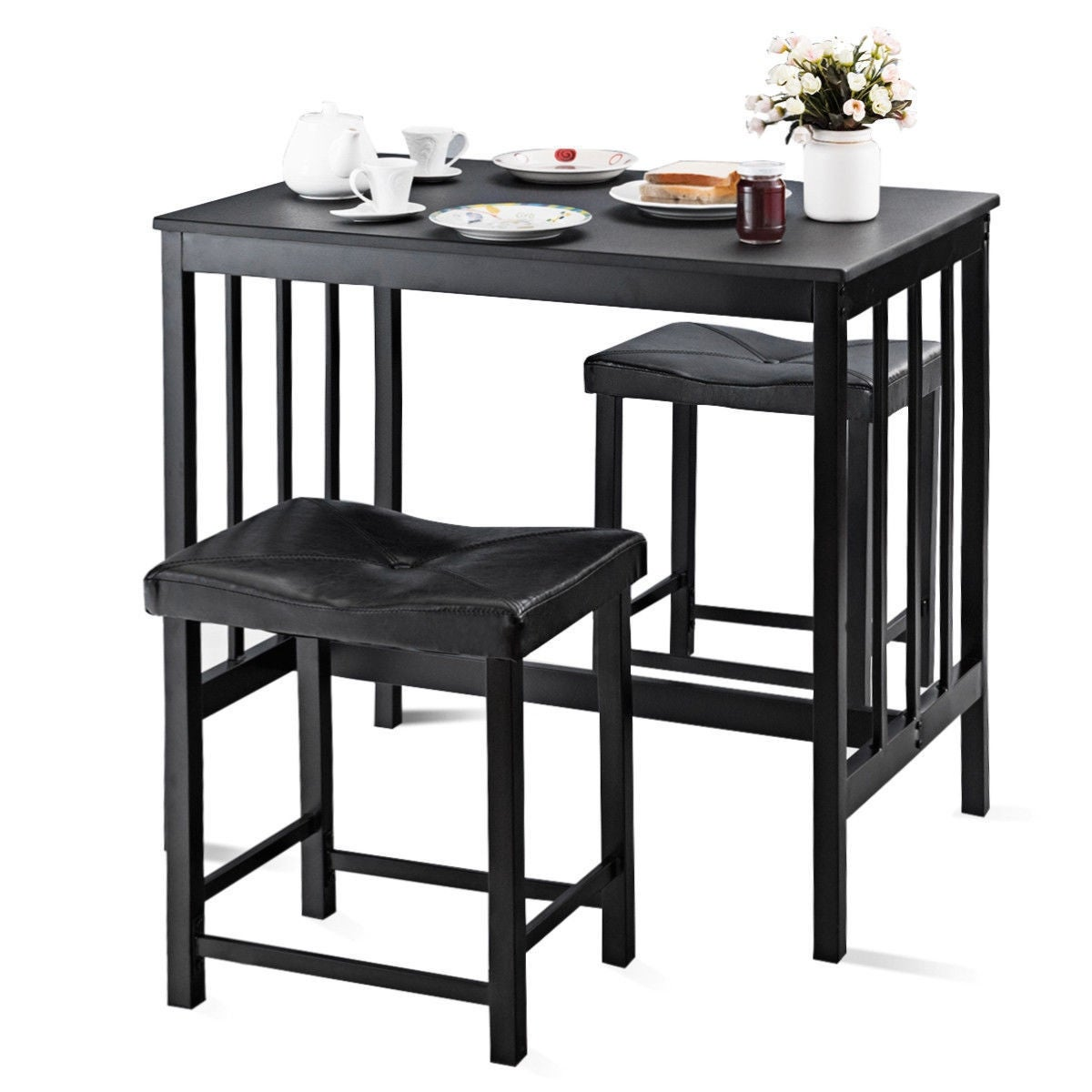Costway 3 Pcs Modern Counter Height Dining Set Table And 2 Chairs Overstock 16689606