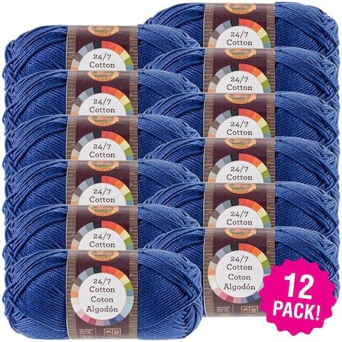 Lion Brand 24/7 Cotton Yarn - 12/Pk-Navy - Blue