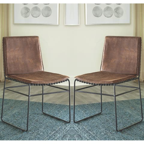 Vintage Modern Design Brown Upholstered Dining Chairs (Set of 2)