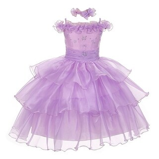 The Rain Kids Baby Girls Lilac Organza Off Shoulder Flower Girl Dress 6-24M