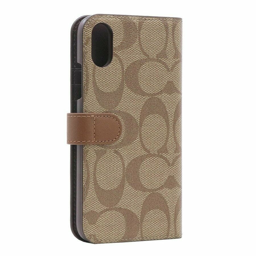 more photos 1e6b5 aa315 Coach Signature Canvas Phone Folio Case for iPhone XR, Khaki