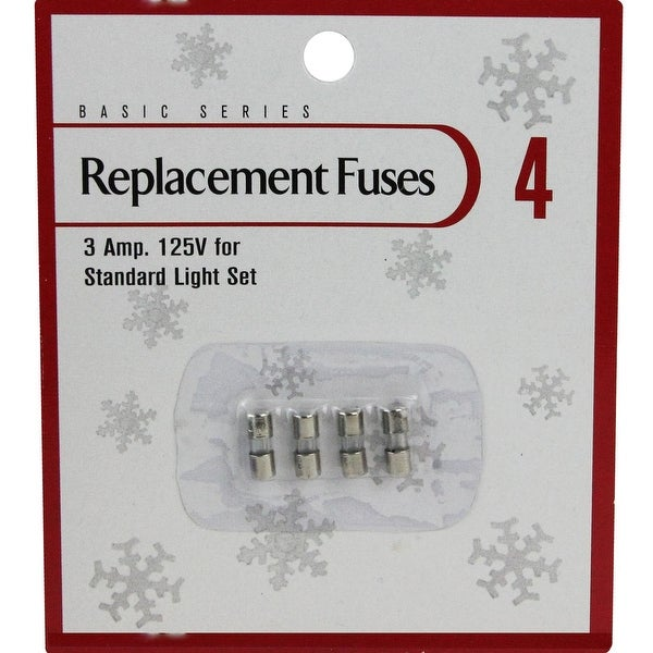 Pack of 4 Replacement Fuses for Mini Christmas Lights - 3 Amps - silver