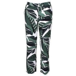 Alfani Petite Green Multi Printed Elastic-Waist Soft Pants 6P