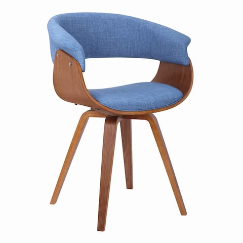 Mid Century Wooden Dining Chair with Curved Fabric Seating, Brown and Blue