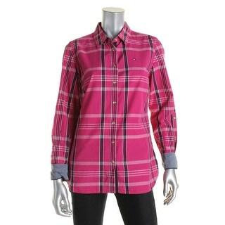 Tommy Hilfiger Womens Button-Down Top Plaid Cotton