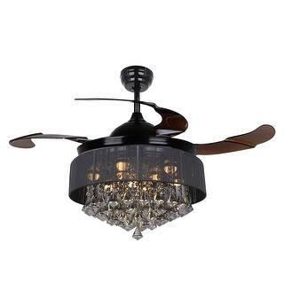 Retractable 4 Blades 42 Inch LED Crystal Ceiling Fan Fandelier