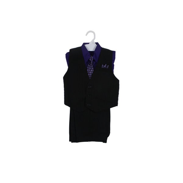 Paperio Boys Vest Pinstripe Set with Stripe Long Tie, Shirt, Pants Purple