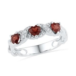 0.02Ctw Diamond 3/4Ctw Garnet Ring White-Gold 10K