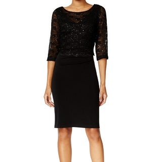 Connected Apparel NEW Black Women's Size 8 Sheath Lace Sequin Dress