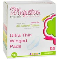 Maxim Hygiene Natural Cotton Ultra Thin Winged Pads Overnight - 10 Pads