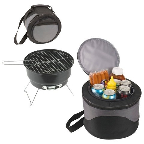 """2-in-1 Cooler Tote & 10"""" Charcoal BBQ"""