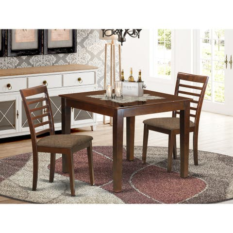 3 Piece Dinette Set with Dining Room Table and Two Dining Chairs in Mahogany Finish