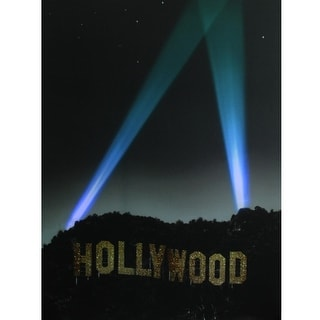 """LED Lighted Hollywood Sign with Spot Lights Canvas Wall Art 19.5"""" x 27.5"""""""