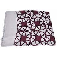 "Gucci Women's 367222 Grey Bordeaux Modal Wool Horsebit Logo Scarf Wrap - 55"" x 55"""