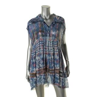 Free People Womens Printed Sheer Casual Dress