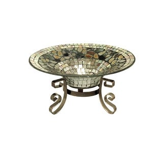 "11.75"" Silver Mosaic Hand Set Glass Bowl with Decorative Pedestal Stand"