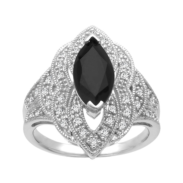 1 5/8 ct Onyx and 1/4 ct Diamond Ring in Sterling Silver