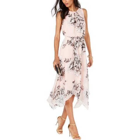Jessica Howard Womens Petites Cocktail Dress Chiffon Handkerchief Hem - Pink - 8P