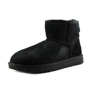 Ugg Australia Classic Mini II Women  Round Toe Leather Black Winter Boot
