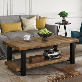 Link to Rustic Natural Coffee Table with Storage Shelf for Living Room Similar Items in Living Room Furniture