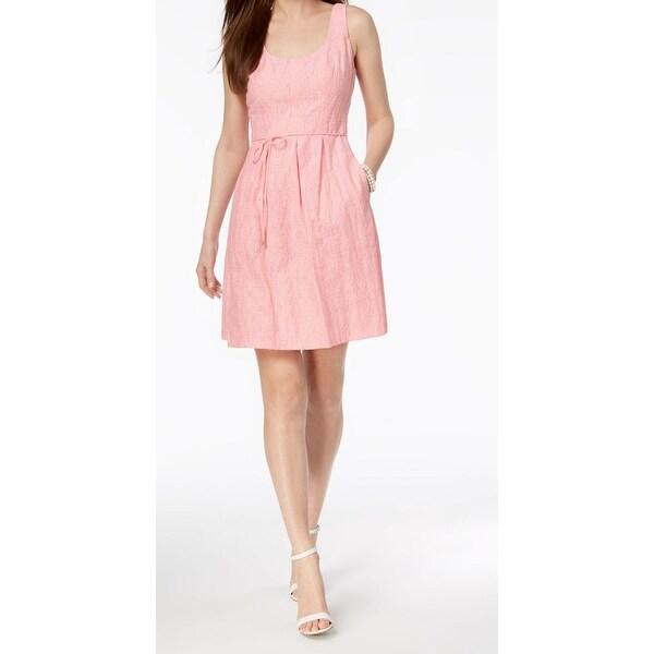 Pappagallo Pink Womens Size 16 Shawdow Stripe Flare A-Line Dress