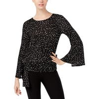 Cupio Womens Pullover Top Front Tie Polka Dot