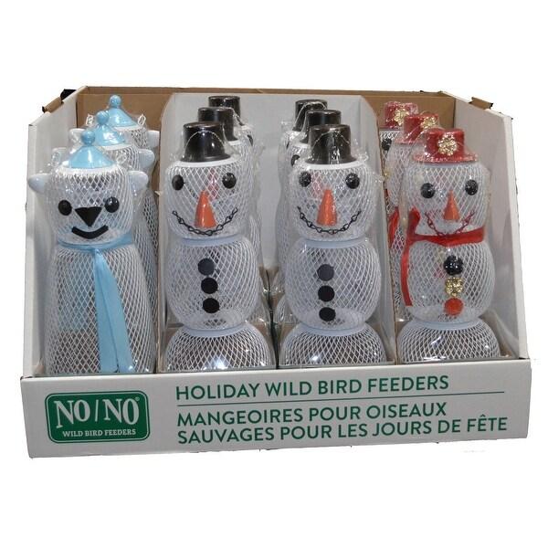 "Set of 13 White Snowmen Holiday Wild Bird Feeders 24"" - N/A"