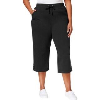 Karen Scott Womens Plus Capri Pants French Terry Wide Leg