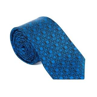 Versace Mens Blue Black Logo Letters Print Pure Silk Slim Tie - no size