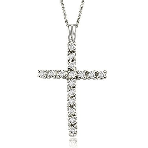 0.50 cttw. 14K White Gold Round Cut Cross Diamond Pendant
