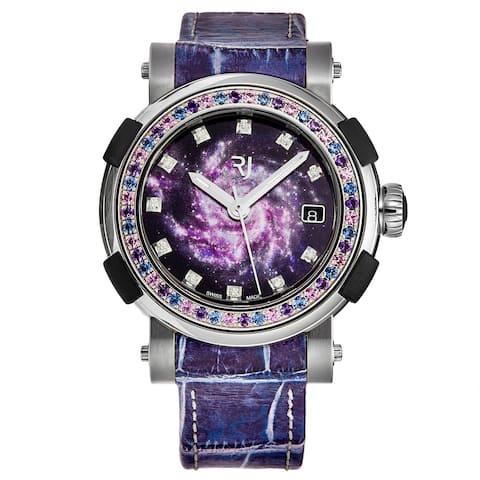 Romain Jerome Women's 1S39A.TTTR.6000.AR.1113.STP19 'Arraw Star Twist' Purple Spiral Galaxy Dial Sapphire Spinning Bezel Watch