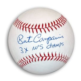 "Bert Campaneris Autographed MLB Baseball Inscribed ""3X WS Champs"""