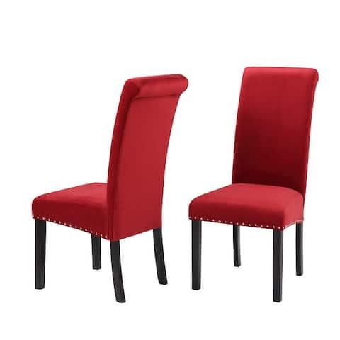 Milan Velvet Armless Dining Chairs (Set of 2)