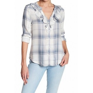 Paige NEW Blue Womens Size XS Bernette Ruffled Plaid Button Down Shirt